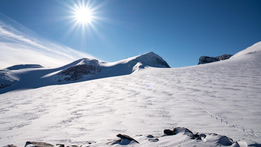 Galdhøpiggen og snødekt Styggebreen